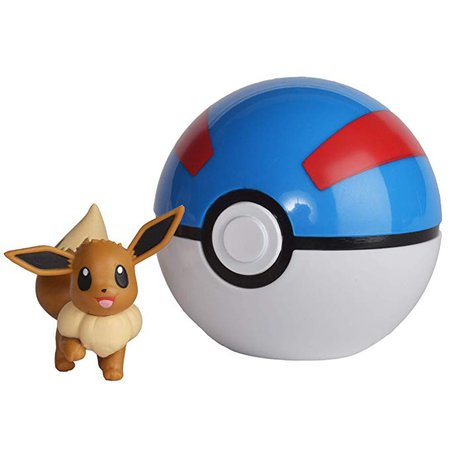 Amazon.com: Wicked Cool Toys Pokemon Official Eevee Clip and Go, Comes with Eevee Action Figure and Poke Ball: Toys & Games