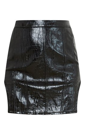 Black Faux Leather Panel Detail Mini Skirt | PrettyLittleThing USA