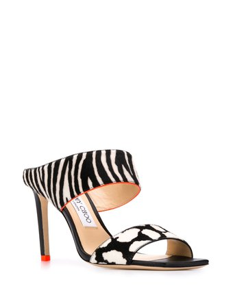 Jimmy Choo Hira 85mm Zebra Print Sandals - Farfetch