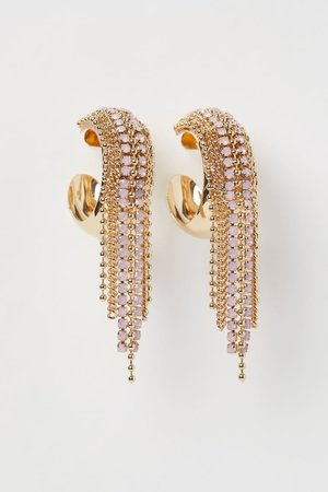 Rhinestone earrings - Gold-coloured - Ladies | H&M GB