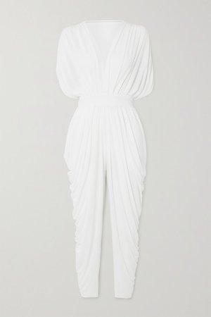 Waterfall Draped Crepe Jumpsuit - White