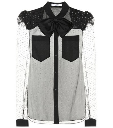 Embellished mesh blouse