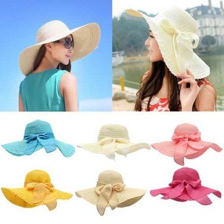 Women Summer Sun Beach Dome Hat Floppy Derby Wide-Brimmed Bow Straw Hat | Alexnld.com
