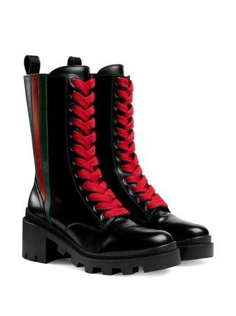 Gucci Web Striped Boots   Farfetch.com