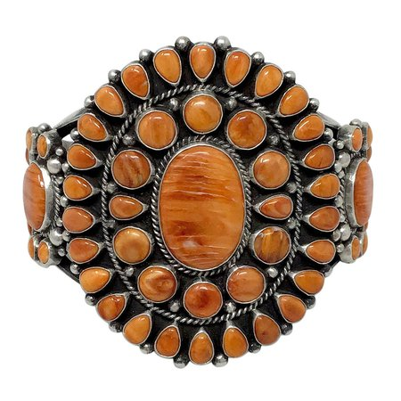 Tyler Brown Navajo Handmade Triple Cluster Orange Spiny Oyster Shell Bracelet