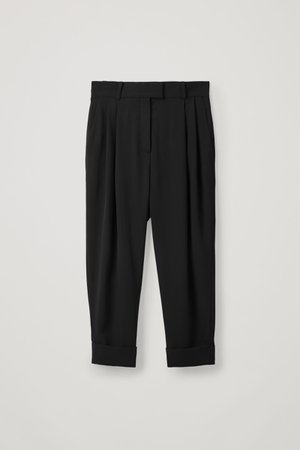 DROPPED CROTCH TROUSERS WITH PLEATS - Black - Trousers - COS WW