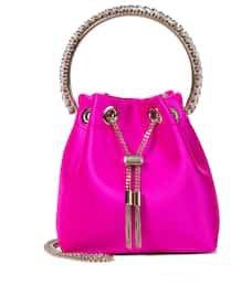 Jimmy Choo - Bon Bon embellished satin bucket bag   Mytheresa