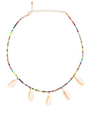 Rainbow Beaded Shell Choker