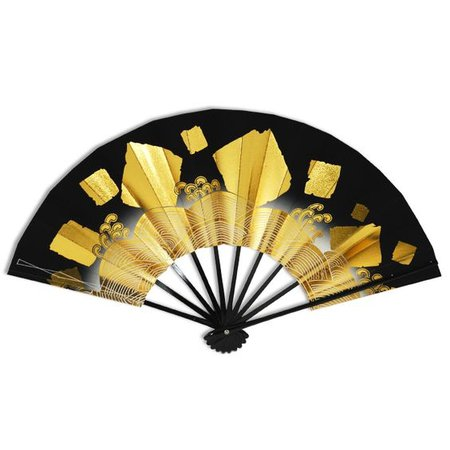 Japanese Weighted Dance Fan, Black and Gold