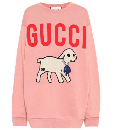 Appliquéd Logo Cotton Sweatshirt | Gucci - Mytheresa