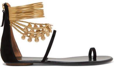 Queen Of The Desert Embellished Suede Sandals - Black