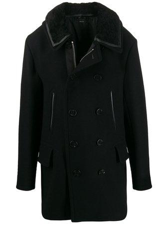 Black Tom Ford Velvet Collar Double Breasted Coat   Farfetch.com