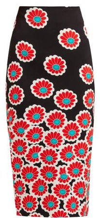 Kara Blossom Print Pencil Skirt - Womens - Black Red