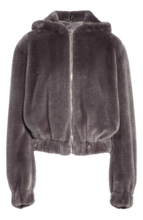 Helmut Lang Faux Fur Hooded Bomber Jacket | Nordstrom