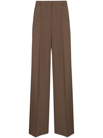 Shop brown Nanushka Cleo wide-leg tailored trousers with Express Delivery - Farfetch