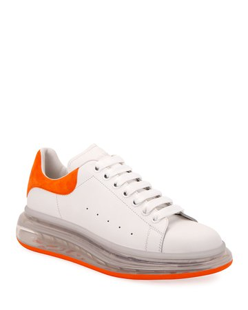 Alexander McQueen Men's Clear-Sole Leather/Suede Sneakers | Neiman Marcus