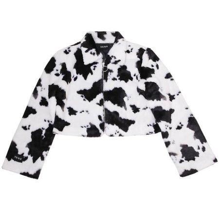 Cow print faux fur jacket – HarajukuBasics