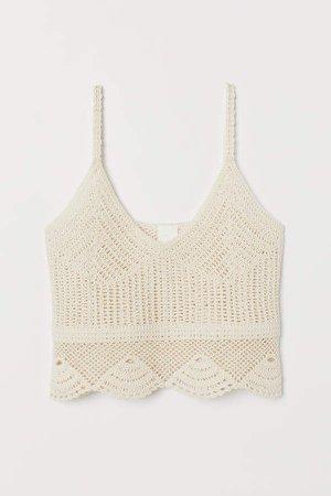 Crocheted Camisole Top - Beige