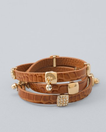 Leather Crocodile-Embossed Wrap Bracelet - Shop Women's New Arrivals Collection - New Styles & Trends - White House Black Market