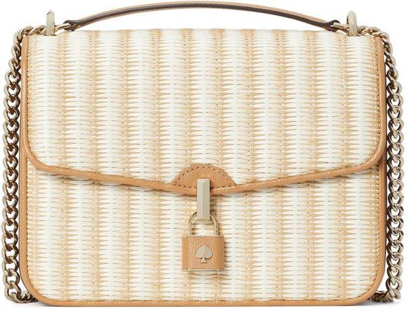 Locket Straw Flap Crossbody Bag