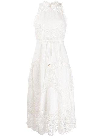 Zimmermann Embroidered Floral Flared Dress 7107DBON White | Farfetch