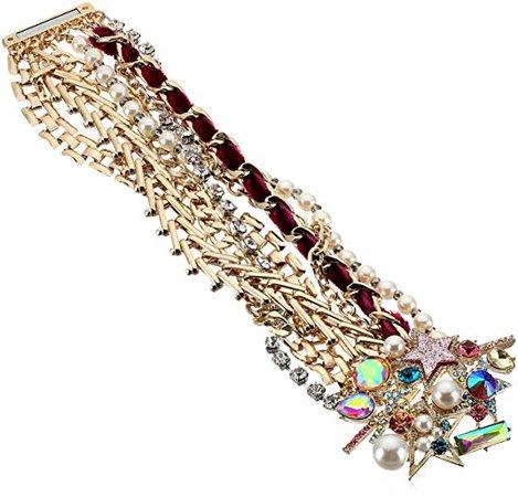 Betsey Johnson Colorful Stone and Stone Statement Bracelet: Clothing