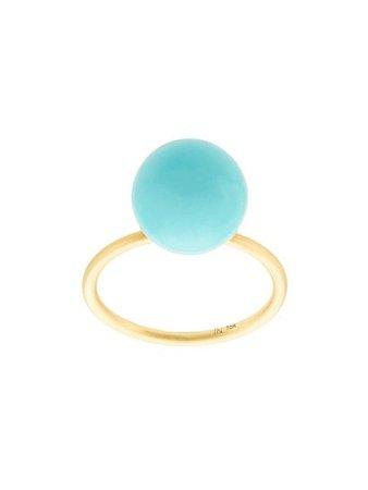 Irene Neuwirth 18kt Yellow Gold Kingman Turquoise Sphere Ring