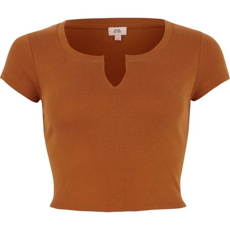 Brown notch front cropped T-shirt ($21)