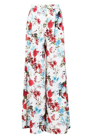 Woven Floral Wide Leg Trousers   Boohoo pink