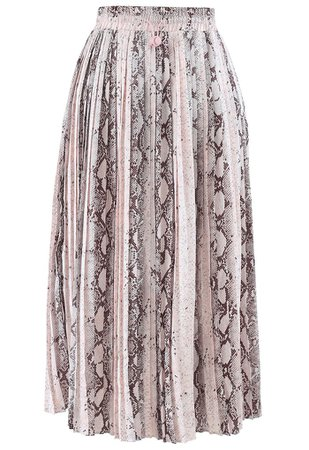 Snake Printed Pleated Midi Skirt - Retro, Indie and Unique Fashion