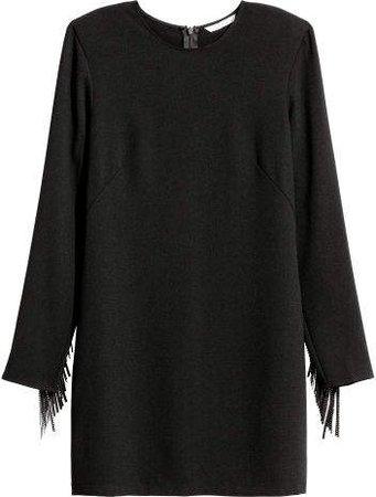 Dress with Fringe - Black