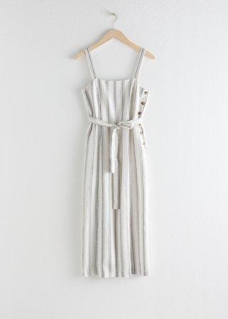 Belted Linen Midi Dress - Stripe - Midi dresses - & Other Stories