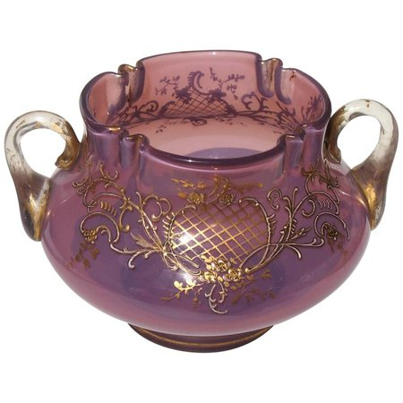 Loetz Victorian Heliotrope Two Handled Vase For Sale at 1stdibs