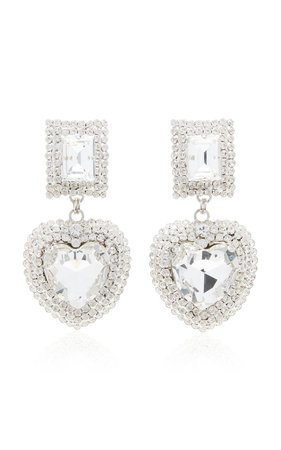 Silver-Tone And Crystal Clip Earrings by Alessandra Rich | Moda Operandi