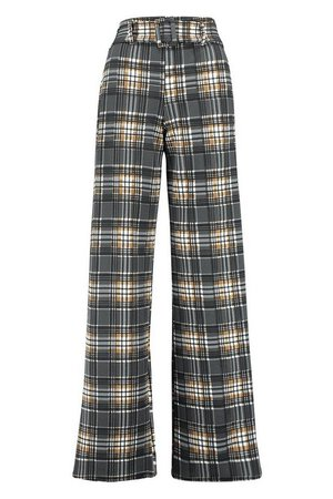 Checked Belted Wide Leg Trouser | Boohoo