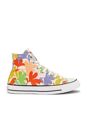 Converse Chuck Taylor All Star Garden Party All-Over Print Sneaker in Egret, Black, & White | REVOLVE