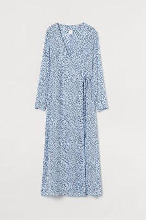 Calf-length Wrap Dress - Blue