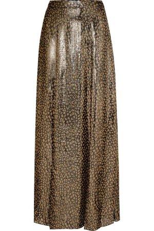 Alice + Olivia | Athena leopard-print silk-blend lamé maxi skirt | NET-A-PORTER.COM