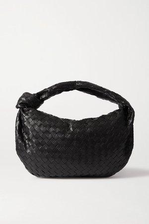 Jodie Small Knotted Intrecciato Leather Tote - Black