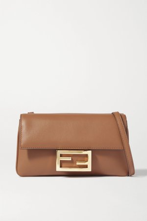 Brown Duo Baguette leather shoulder bag | Fendi | NET-A-PORTER