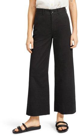 The Lightweight Wide Leg Crop Stretch Cotton Pants
