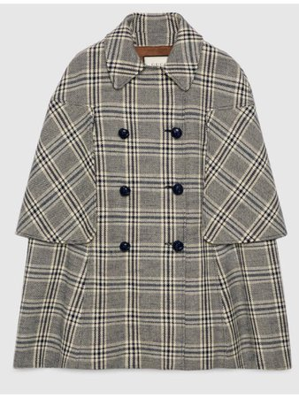GUCCI check wool cape