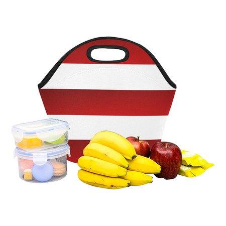 Red White Stripes Neoprene Lunch Bag/Small (Model 1669) | ID: D2324035