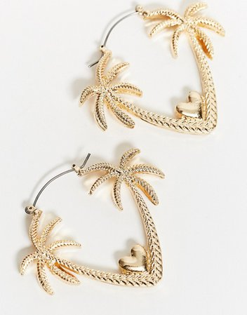 ASOS DESIGN earrings in romantic palm tree design in gold tone | ASOS