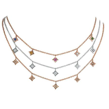 Regalo Dangle Choker Set in 14k Gold with Diamonds, Sapphires & Tsavorite Garnet by GiGi Ferranti