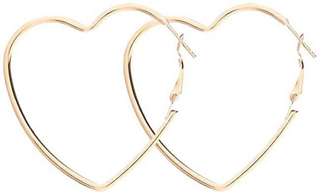 Amazon.com: Yukhins Women Girls Stainless Steel Hoop Geometric Heart Triangle Hook Simple Fashion Earrings(Heart55Gold): Clothing