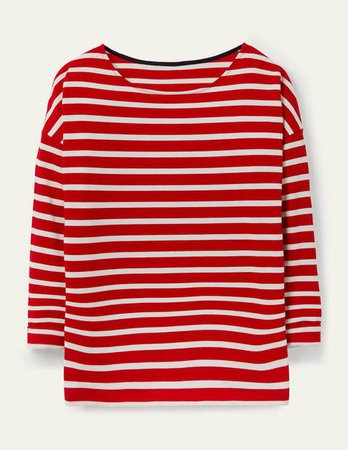 Rosie Jersey Top - Red/Ivory