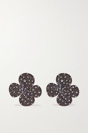 Black Clover titanium diamond earrings   G by Glenn Spiro   NET-A-PORTER