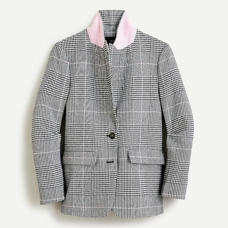 J.Crew: Boyfriend Blazer In Plaid Italian Wool For Women grey