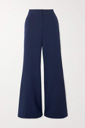 Ivy Crepe Flared Pants - Navy